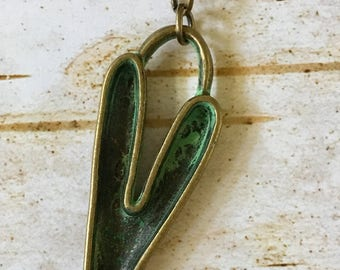 Heart Pendant Detachable Pewter Turquoise GREEN Antiqued Gold Boho Necklace Mix and Match