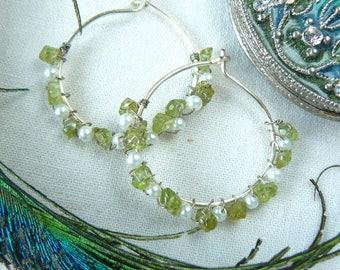 Peridot and Pearl hoop Earrings