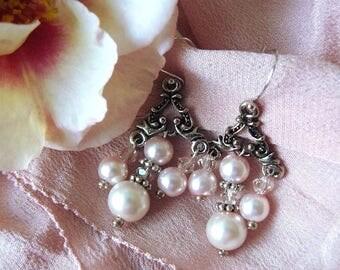 Tea Rose Pink Glass Pearl And Swarovski Crystal Earrings