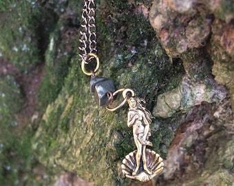 Venus Charm Necklace / Goddess Charm Necklace / Gold Charm Necklace / Artist Gift / Pyrite Necklace