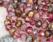 8mm x 6mm Czech Glass Picasso Bead Spacer Rondelle Donut (24) Fuchsia Rose Opal Pink Champagne Mix - Bohemian Glam - Central Coast Charms