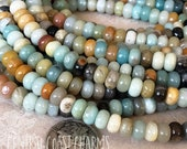 "6mm x 4mm Amazonite Gemstone Smooth Shiny Rondelle Beads - 15.5"" strand - Opaque Milky Blue Green Gray Tan - (96 beads) Central Coast Charms"