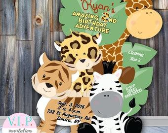 Animal baby shower invitations, gender neutral invites, animals party, cute, die cut, cut out, giraffe, unique, zebra invitation custom