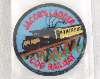 "Newer Mount Washington Cog Railway Patch 3"", Jacob's Ladder Souvenir, New Hampshire Applique, NH Travel Collectible, Original Packaging"