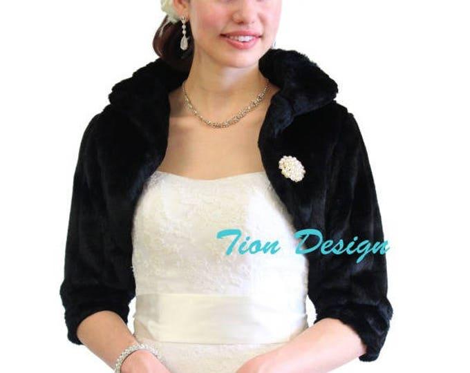 Bridal fur bolero, Black Faux Fur Bridal Jacket, faux fur wrap, faux fur shrug, faux fur jacket, Wedding Jacket. 900MM-BLK