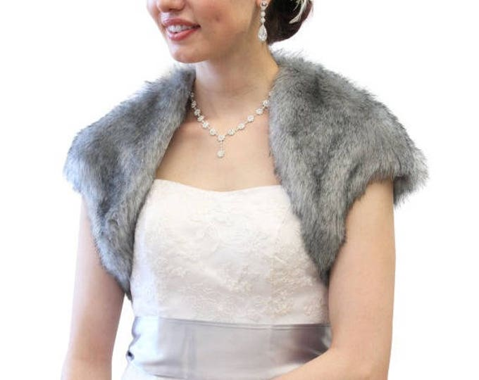 Pre Thanksgiving Sale Faux Fox Fur Bridal Bolero Crop Jacket, Faux Fur Shrug, Faux fur Coat Grey Chinchilla