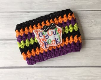 Halloween cup cozy, Halloween, cup cozy, coffee cozy, coffee cup cozy, coffee sleeve, trick or treat, reusable cup sleeve, cozy, orange cozy