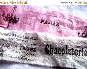 Hand Stamped Fabric Trim - Scrapbooking Paris french - PINK WHITE- Wedding - Gift Decor