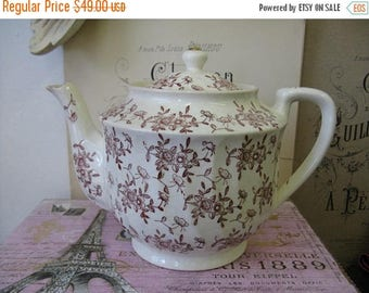 Antique Transferware Teapot  Red White Clayware Cottage Chic Nordic French