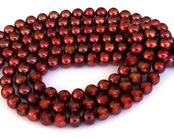 Gorgeous copper freshwater pearls, grade AA, 7mm, 16 inch strand bridal quality, high luster copper