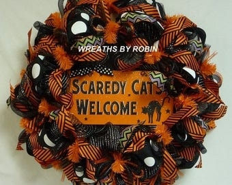 ON SALE Scaredy Cats Welcome, Halloween Wreaths, Black Orange Wreaths - Item 2440