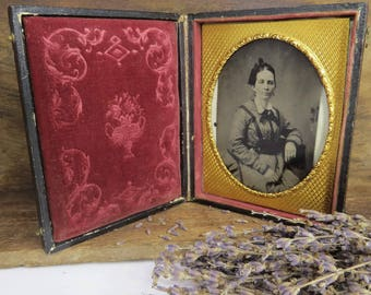 Antique Tin Type Civil War Era Woman Leather Frame Case Embossed Velvet Interior & Gold Alloy Frame