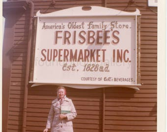 Vintage Photo, Woman in Raincoat, Frisbee's Supermarket, Kittery Maine, Snapshot, Color Photo, Old Photo, Travel Photo, Vacation, Vernacular