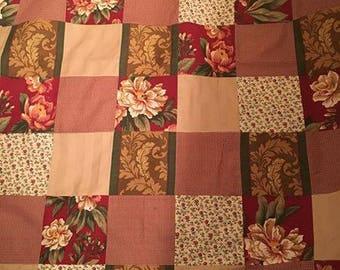 Handmade Dark Red Flowers Throw Blanket