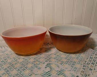 Vintage Pyrex Brown Old Orchard and Orange Flameglo Bowls - #402 1 1/2 Quart Mixing Bowls  -  17-511