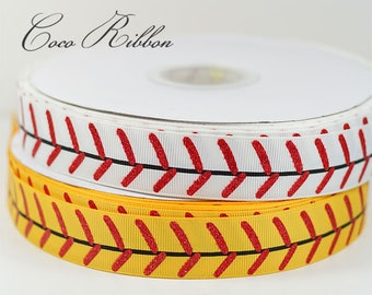 "5 Yards 1"" 25mm Glitter Stitch Softball Baseball Grosgrain Ribbon"