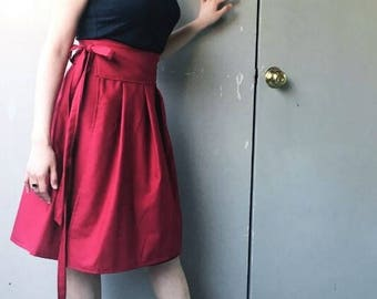 Poppy: Red Cotton Wrap Skirt