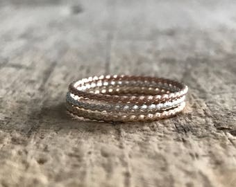 Twist Rings, TriColor Ring Stack, 3 Ring Set, Rope Rings, Nautical Style, Mixed Metal Rings, Skinny Rings, Stackable Rings, Christmas Gift