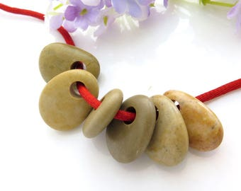 Colorful Beach Stones Top Drilled 6 pcs- Medium Smooth Beads, Flat Pebbles for Jewelry Design Supplies Unique Special Pendants