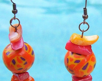 Earrings 'Pearly orange', polymer clay
