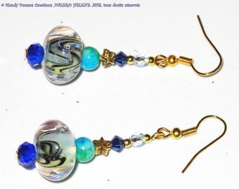 Earrings green blue with pearls of art spun with torch, tops crystal