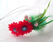 Bold Colors Tropical Feather Double Headband Fascinator with Kanzashi Flowers Statement Headpiece