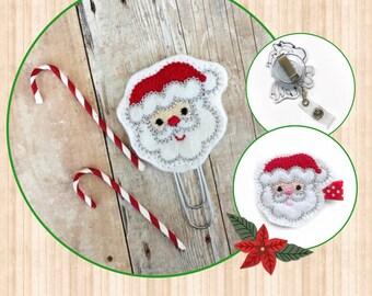 Santa Claus planner clip, Paperclip, Bookmark / Santa Claus hair clip, hair bow, barrette / Santa Claus badge reel / Christmas