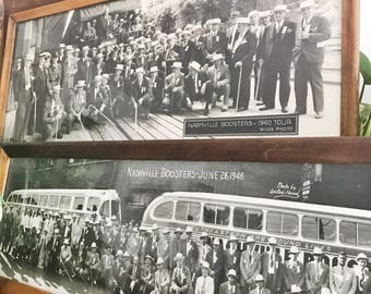 Set of 2 1940s Panoramic Photographs of Nashville Boosters