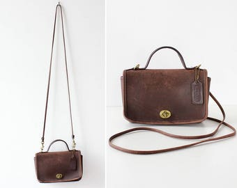 80s Coach Leather Bag • Vintage Coach Purse • Brown Leather Crossbody Bag • Vintage Coach Bag • Brown Leather Bag • Convertible Bag | B917