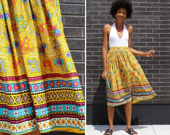 Vintage Summer Skirt S/M • Southwest Skirt • 80s Skirt • Yellow Midi Skirt • High Waisted Skirt with Pockets • Rayon Skirt | SK850