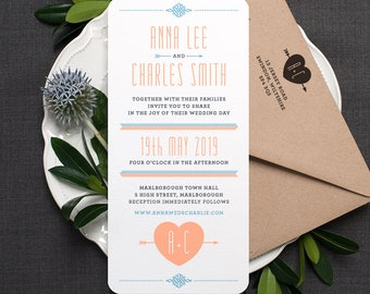 Folksy Retro Wedding Invitation / 'Lovestruck' Simple Heart Wedding Invite / Peach Cornflower Blue / Custom Colours Available / ONE SAMPLE