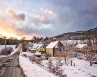 Old Farm and Wintry Sunset