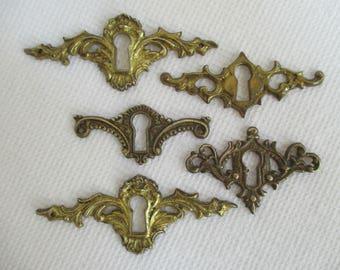 Vintage Salvaged Hardware Findings Destash - Keyhole Design - Mixed Media, Assemblage, Altered Art - 5 in Lot