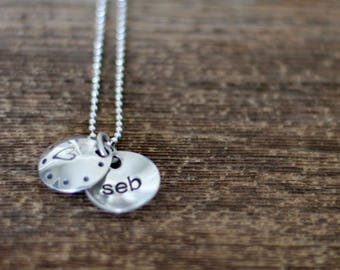 Sterling Locket with name or date - heart necklace - kids name necklace - Rawkette