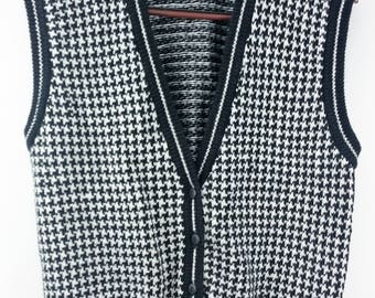 Vintage Westbound Houndstooth Check Preppie Old Man Sweater Vest Size XL