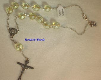 Champagne Car Rosary,10 Decate Car Rosary,Auto Rosary,Rosary,Pocket Rosary,Catholic Rosary,Catholic,Prayer Beads,Travel Rosary,Cross