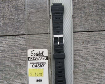 vintage speidel express casio 12MM black mens watch band new old stock 18MM