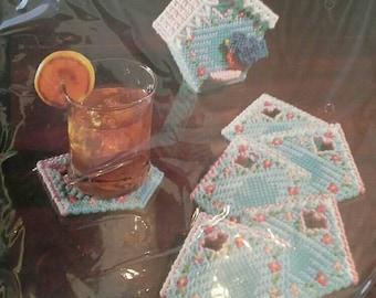Vintage Bucilla Plastic Canvas Kit Birdhouse Coasters Complete Unopened Kit NIP