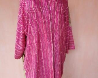 Silk embroidered kaftan. Hand embroidered kaftan, silk cardigan, silk robe, bohemian kaftan, tribal kaftan