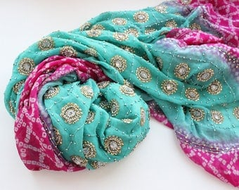 Indian vintage blue-pink hand embroidered georgette long dupatta scarf. Bohemian, tribal scarf, blue stole SCM020