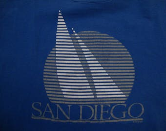 Vintage 80's San Diego California Boat Tourist Souvenir Blue T Shirt Size XL