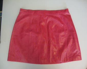 TUSKANY Italy New York Hot Pink Leather Skirt XL  AMAZING