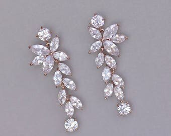 Rose Gold Earrings, Chandelier Earrings, Bridal Earrings, Rose Gold Wedding Earrings, Crystal Earrings,  MAXIME RG