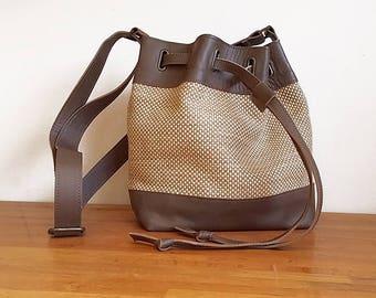 Brown Leather Satchel, women Cross Body Bag, brown leather Messenger Bag, nude  canvas Crossbody Bag Messenger, Leather Crossbody women