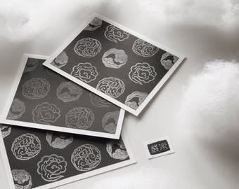 2 Hand Printed Greeting Cards - Clouds, Japanese Family Crest, Kamon