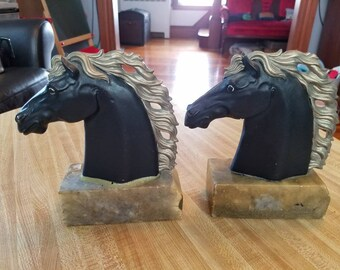 Vintage EBS Horse Head Bookends Book Ends As Is Black