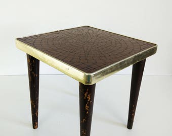 Mid century Mosaic Top Table, tapered legs
