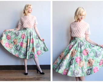 1950s Skirt // Madeline Moore Floral Gold Flocked Skirt // vintage 50s circle skirt