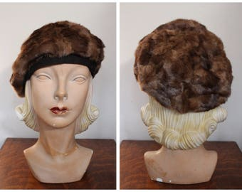 1940s Hat // Manhattan Winter Mink & Wool Hat // vintage 40s hat