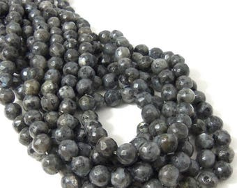 Larvikite Bead, 8mm, Round, Faceted, Gray, Black, with Flash, Small, Natural Gemstone Beads, 14.5-15 Inch Strand, 48-50pcs - ID 2252